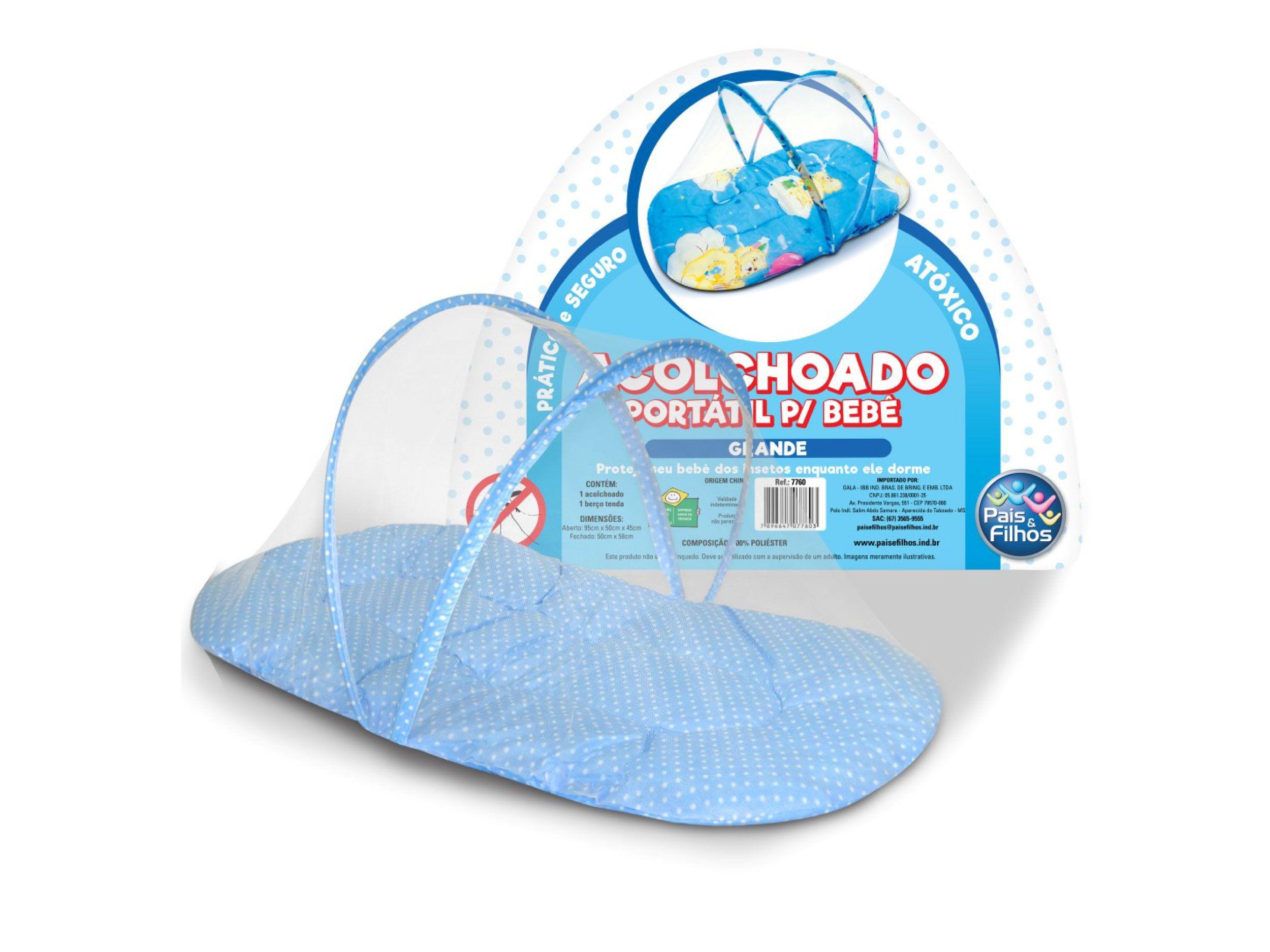 Acolchoado portátil grande para bebê - Azul-7760