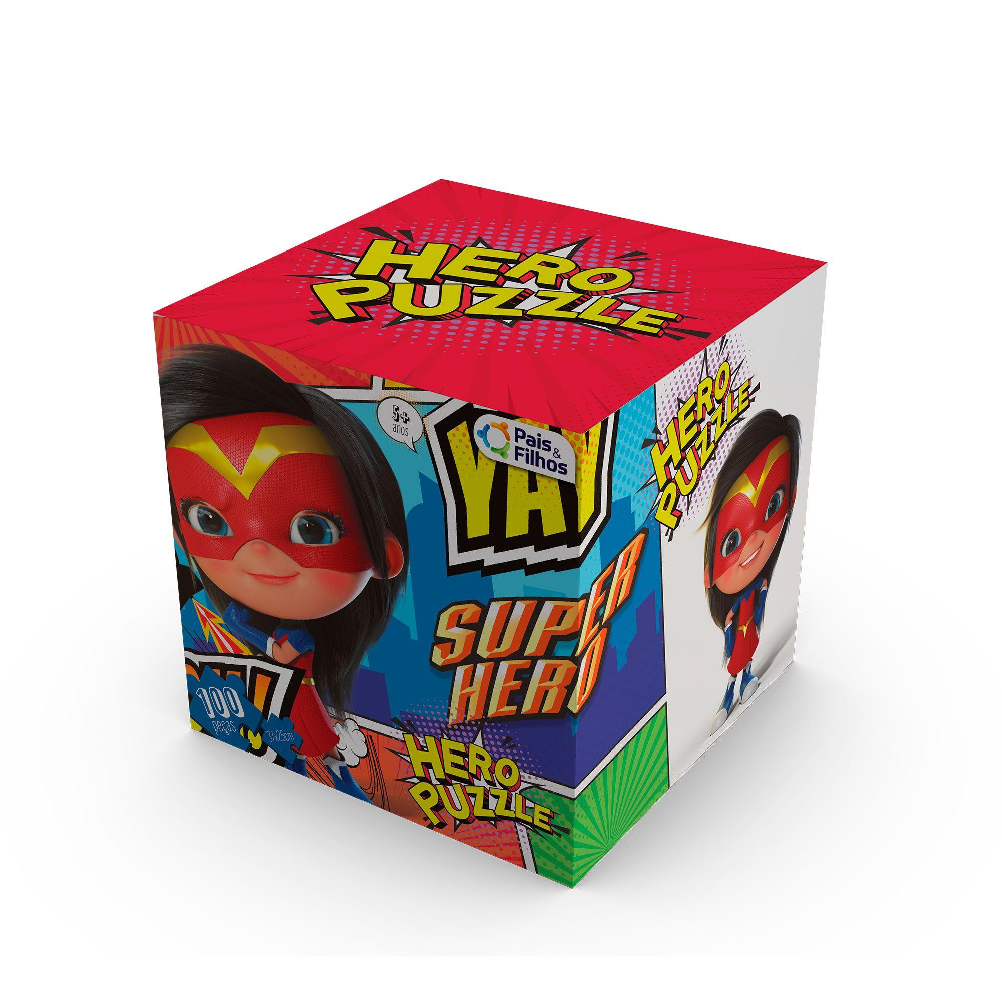 Quebra-Cabeça Heroína cubo com 100 peças-0978