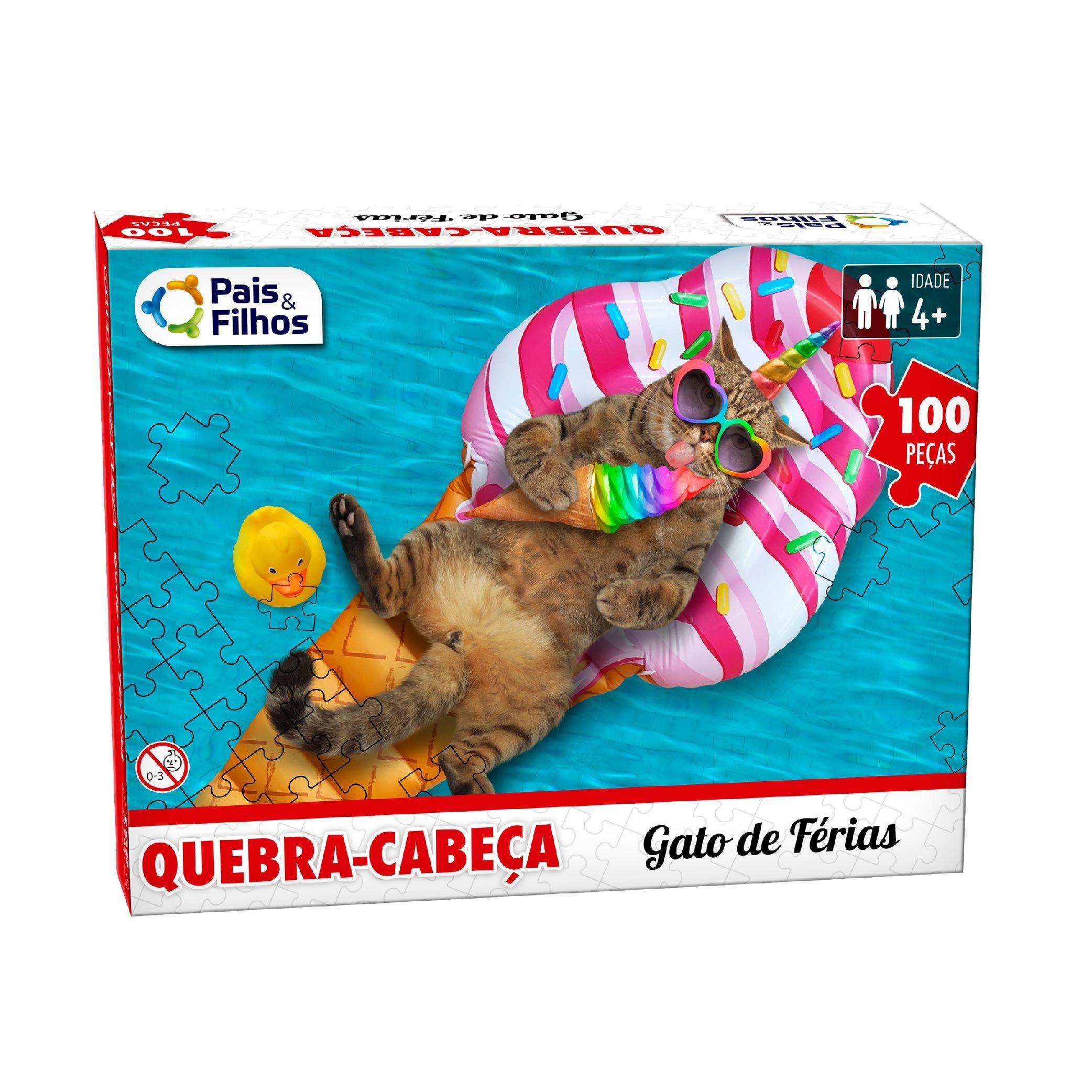 Quebra-cabeça 100P Gato de Férias-10768