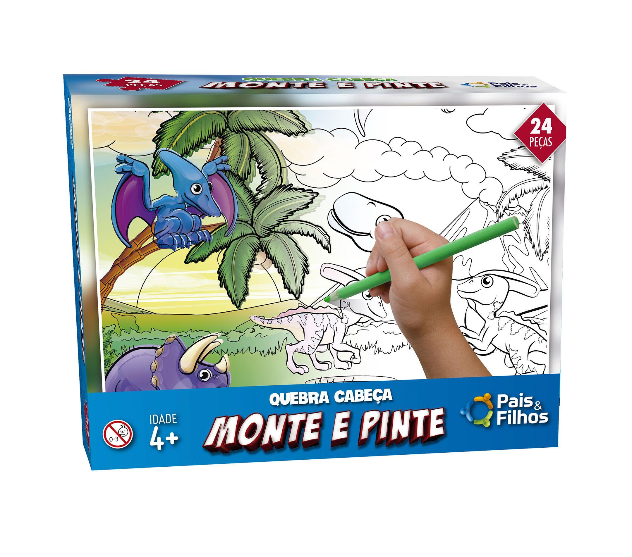 Monte e pinte Dinossauros - 24 peças -0995