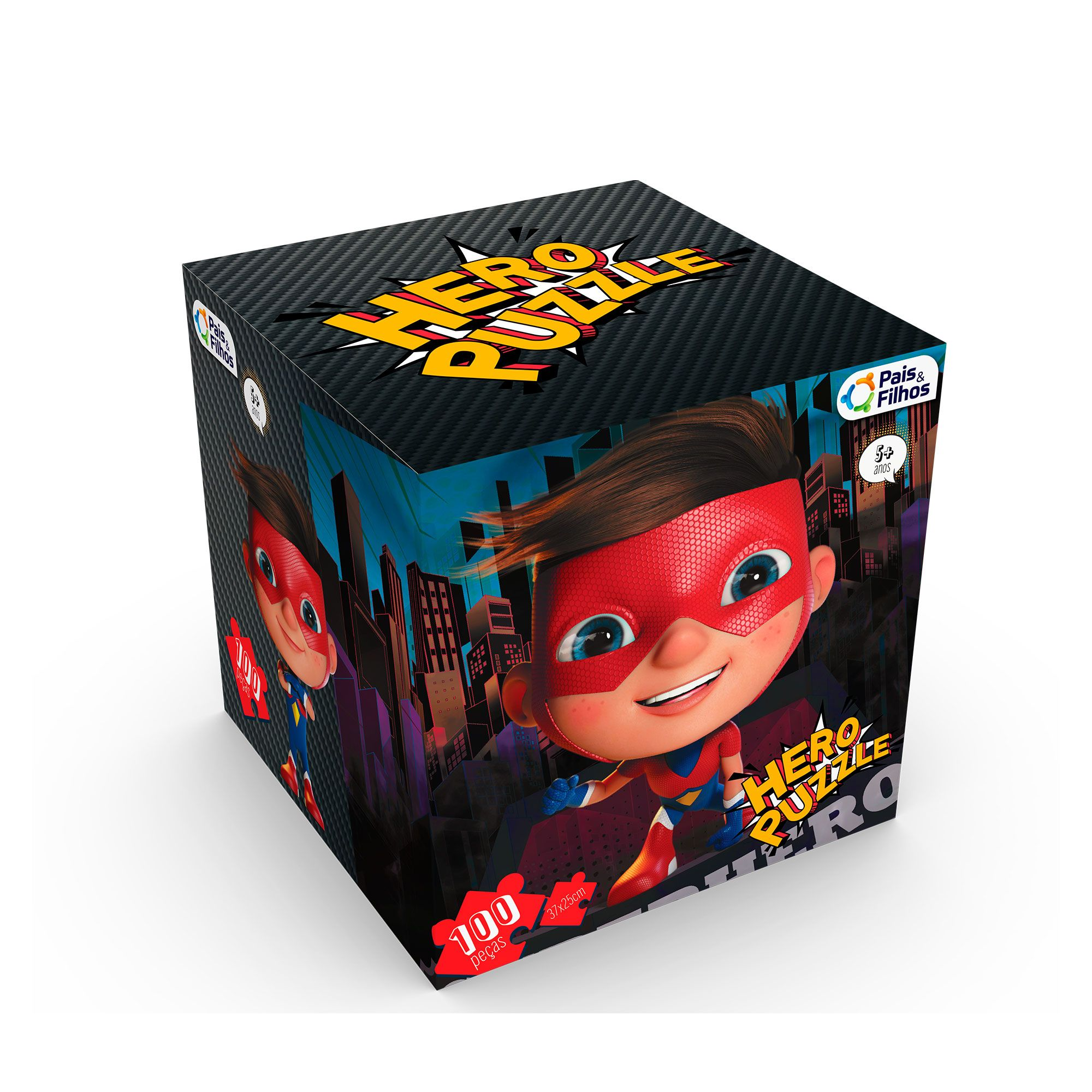 Quebra-Cabeça Herói cubo com 100 peças-0979