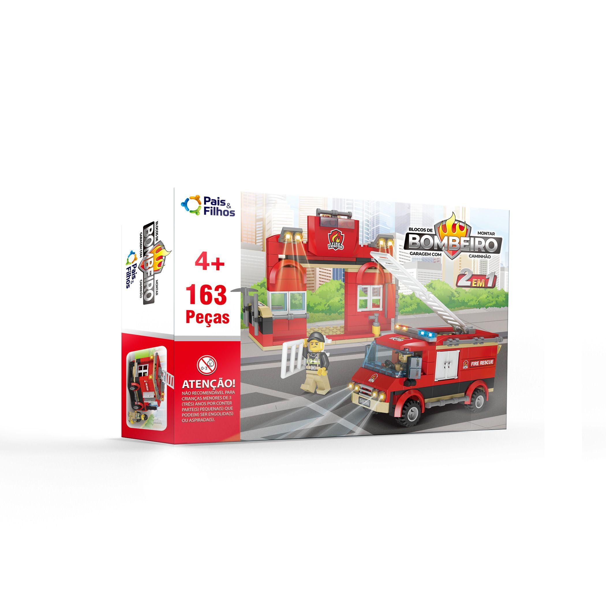 Kit Blocos de Montar - Bombeiro - Garagem com Caminhão-14624