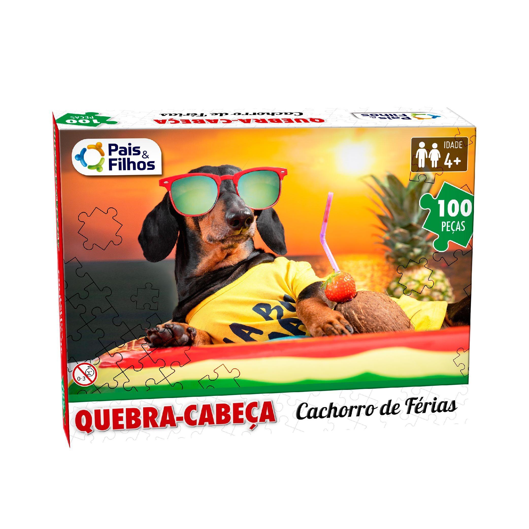 Quebra-Cabeça 100P Cachorro de Férias-10767