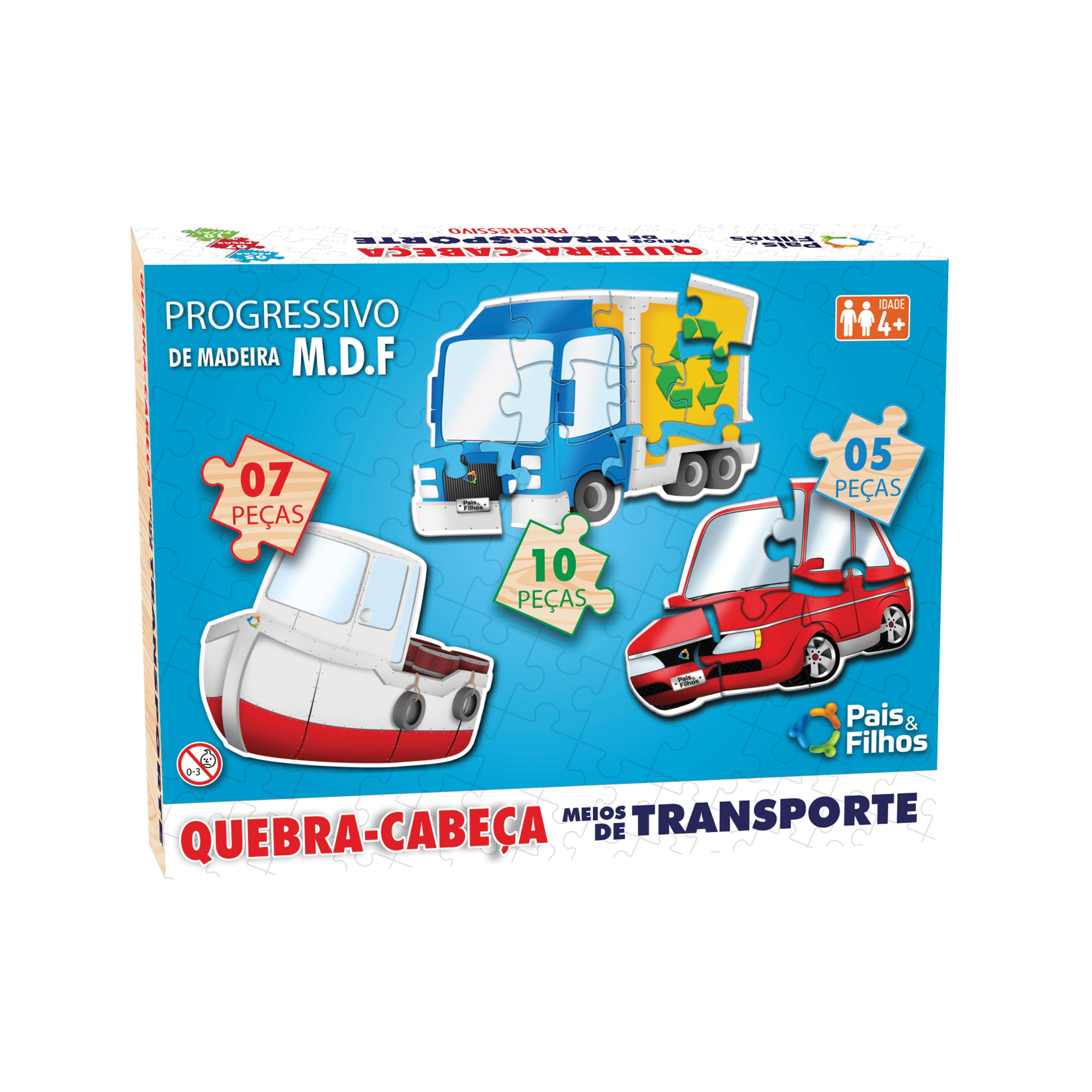 Quebra-Cabeça Progressivo de Madeira - Meios de transporte - 5/7/10 peças-10774